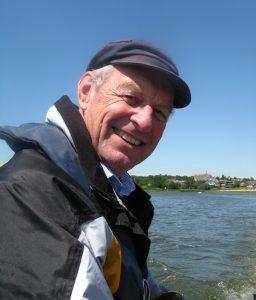 Chris Morrison in dinghy, Penny Jane