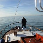James on foredeck of Highland Beauty
